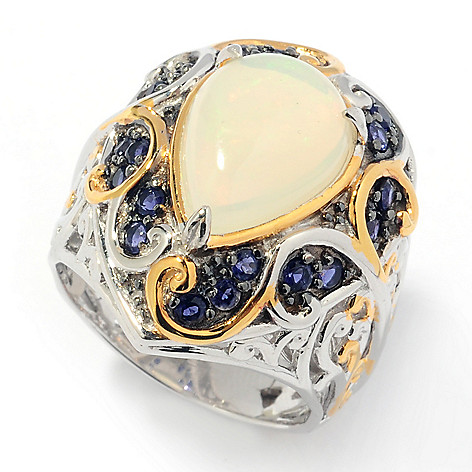 131-737 - Gems en Vogue II 12 x 8mm Pear Shaped Ethiopian Opal & Iolite Ring