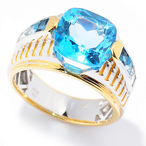 131-740 - Men's en Vogue II 7.45ctw Shades of Blue Topaz Textured Ring
