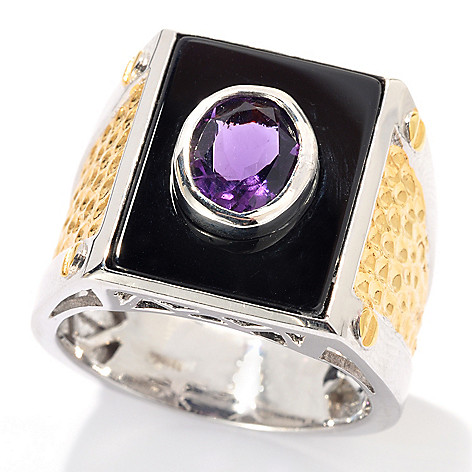 131-742 - Men's en Vogue II 18 x 13mm Black Onyx & African Amethyst Hammered Ring