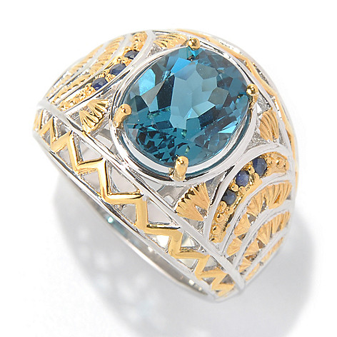 131-743 - Men's en Vogue II 6.31ctw London Blue Topaz & Sapphire Textured Wide Band Ring