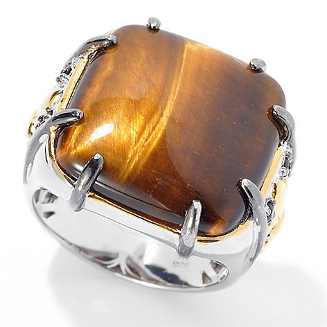 131-746 - Men's en Vogue 20mm Tiger's Eye & Black Spinel Fleur-de-lis Polished Ring