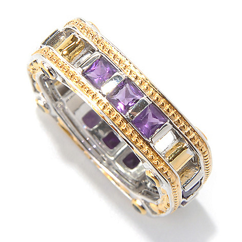 131-747 - Men's en Vogue II 1.48ctw Amethyst & Sapphire Square Shaped Eternity Band Ring