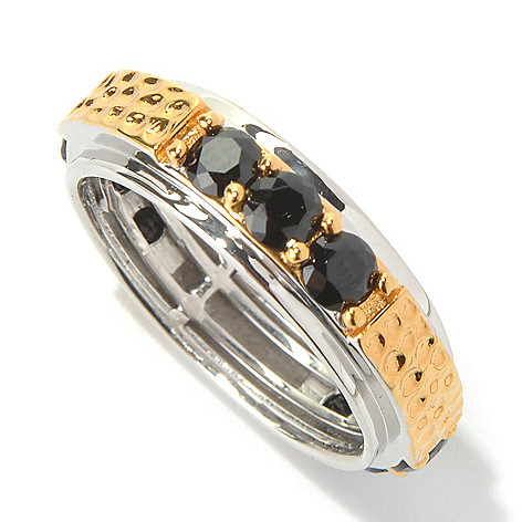 131-748 - Men's en Vogue II Black Spinel Hammered & Polished Eternity Band Ring