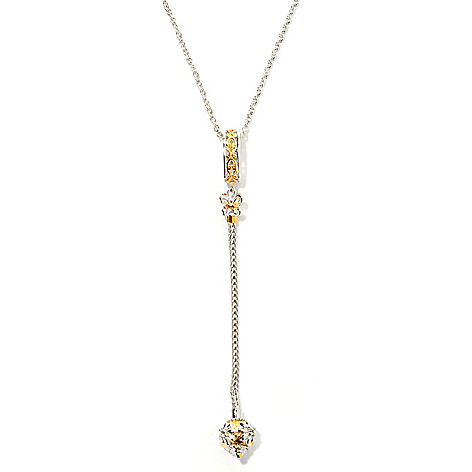 131-749 - Gems en Vogue White Sapphire Twist-off Endcap Linear Drop Pendant w/ Chain
