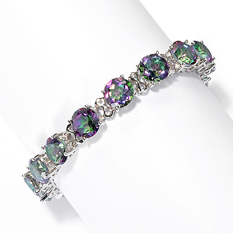 131-752 - Gem Treasures Sterling Silver 8mm Topaz ''Kellie Anne'' Line Bracelet