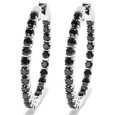 131-753 - Gem Treasures Sterling Silver 1.5'' 7.55ctw Exotic Zircon Oval Hoop Earrings