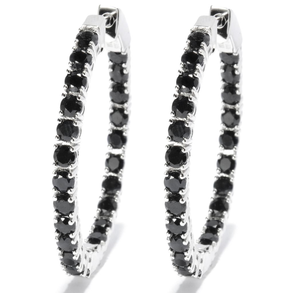 "131-753 - Gem Treasures Sterling Silver 1.5"" 7.55ctw Exotic Zircon Oval Hoop Earrings"