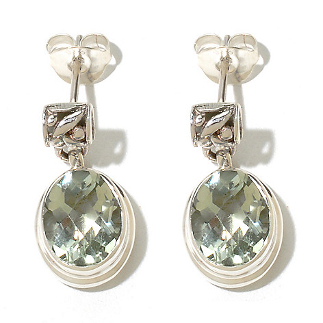 131-760 - Artisan Silver by Samuel B. Checkerboard Cut Gemstone Drop Earrings