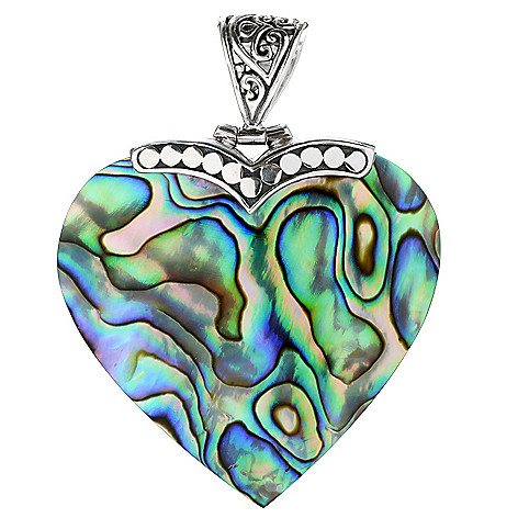 131-764 - Artisan Silver by Samuel B. 37 x 35mm Gemstone Heart Pendant