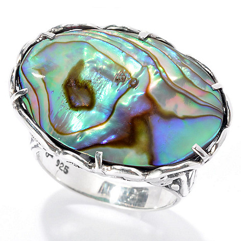131-765 - Artisan Silver by Samuel B. 23 x 17mm Paua Abalone Scroll Design Ring