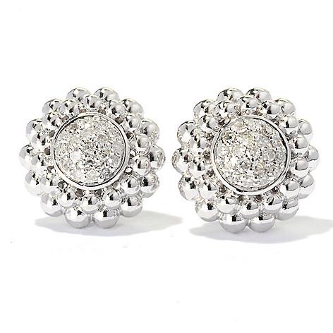 131-783 - Beverly Hills Elegance Sterling Silver 0.25ctw Diamond Circle Stud Earrings
