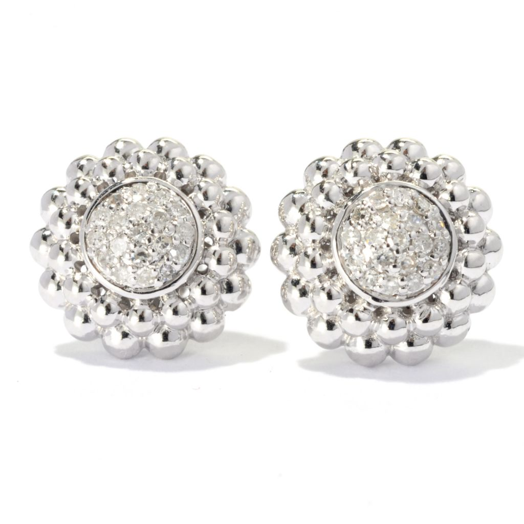 131-783 - Beverly Hills Elegance Sterling Silver 0.25ctw Diamond Circle Stud Earrings