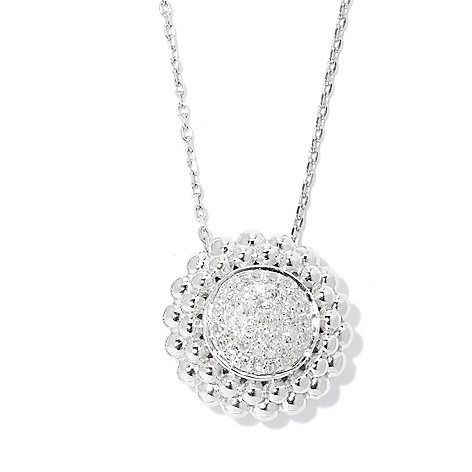 "131-784 - Beverly Hills Elegance Sterling Silver 0.25ctw Diamond Circle Pendant w/ 18"" Chain"