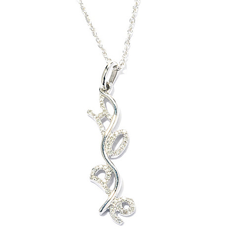 131-791 - Diamond Treasures Sterling Silver 0.10ctw Diamond Inspirational Pendant w/ Chain
