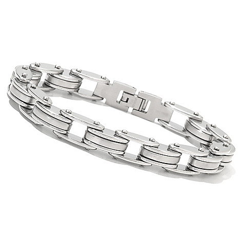131-795 - Steeltime Men's Stainless Steel 8.5'' Bicycle Chain Link Bracelet