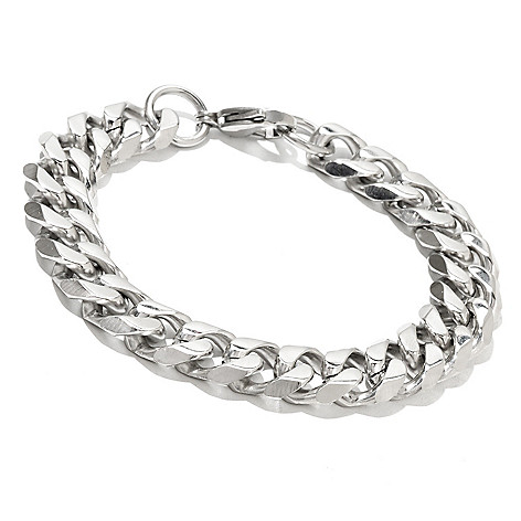 131-797 - Steeltime Men's Stainless Steel 9'' Curb Link Bracelet