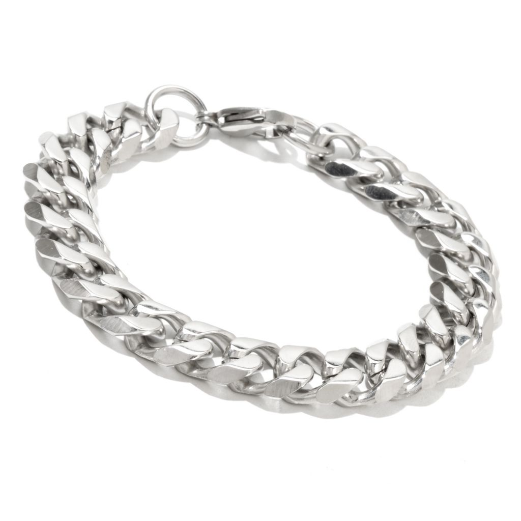 131-797 - Steeltime Men's Stainless Steel Polished Curb Link Bracelet