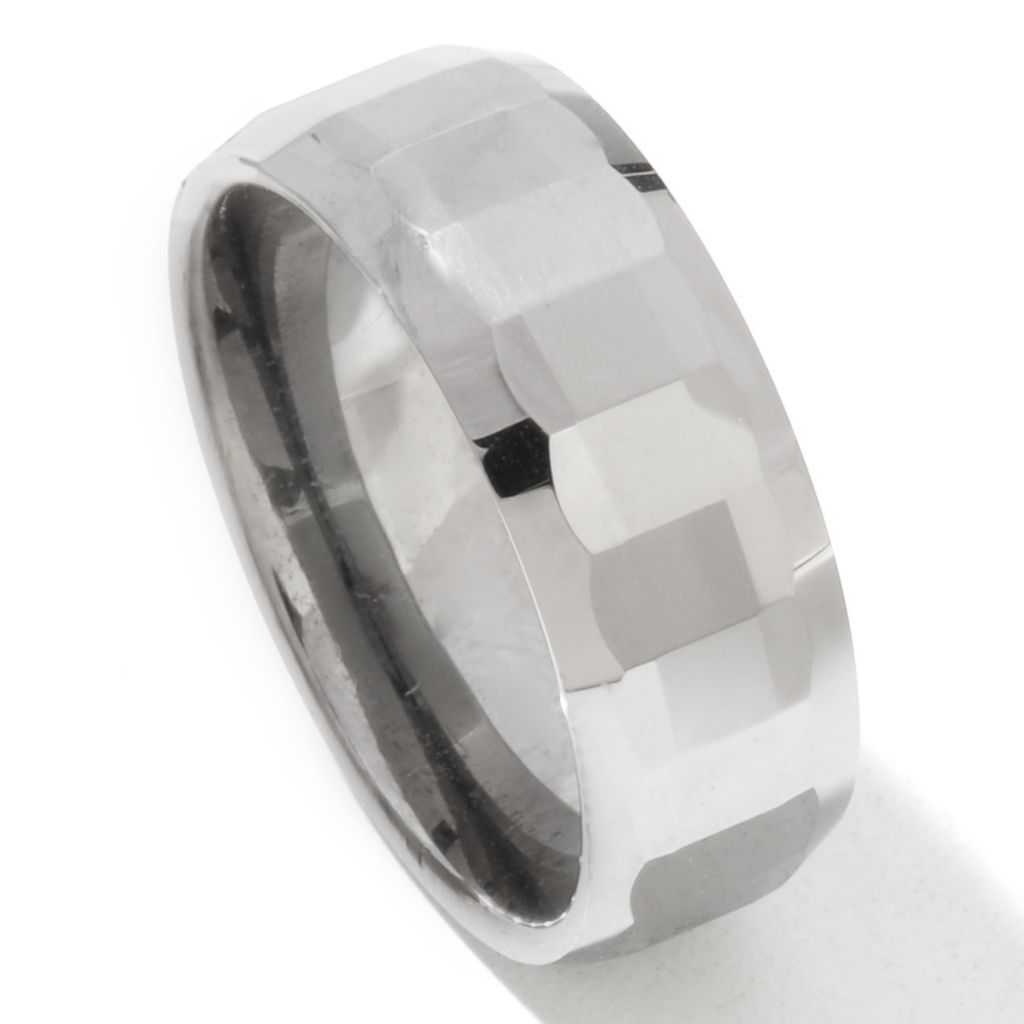 131-800 - Steeltime Men's Stainless Steel & Faceted Tungsten Band Ring