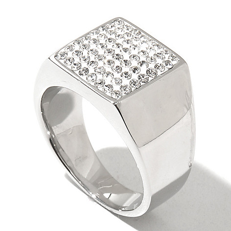 131-802 - Steeltime Men's Stainless Steel Crystal Square Top Polished Ring