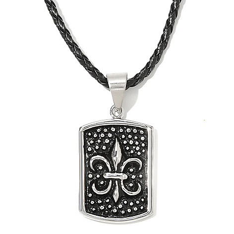 131-806 - Steeltime Men's Stainless Steel Dog Tag Pendant w/ 18'' Leather Braided Necklace