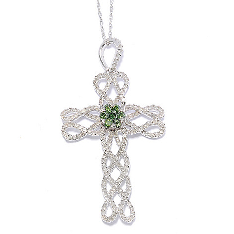 131-808 - Sterling Silver 0.98ctw White & Blue Diamond Cross Pendant w/ 18'' Chain
