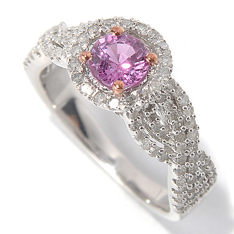 131-811 - Diamond Treasures Sterling Silver 1.37ctw Round Pink Sapphire & Diamond Halo Ring