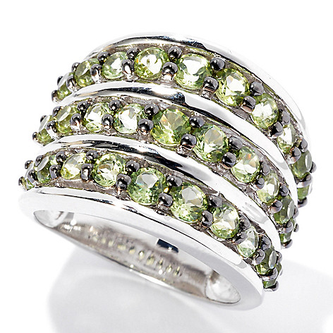 131-831 - Gem Insider Sterling Silver 2.40ctw Peridot Three-Row Wide Band Ring