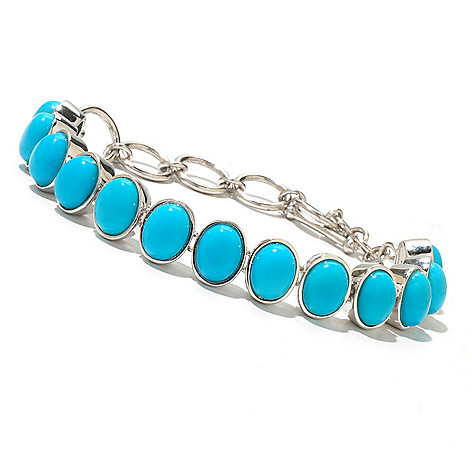 131-833 - Gem Insider™ Sterling Silver 7.25'' Sleeping Beauty Turquoise Toggle Bracelet