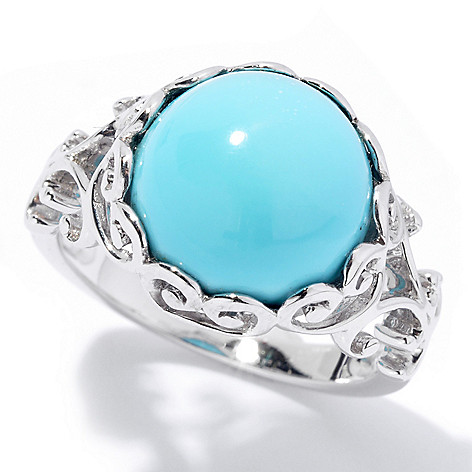 131-834 - Gem Insider Sterling Silver 12mm Sleeping Beauty Turquoise Scrollwork Ring