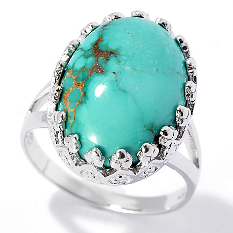 131-836 - Gem Insider Sterling Silver 17 x 12mm Carico Lake Turquoise Crowned Ring