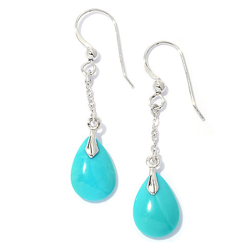 131-837 - Gem Insider 1.75'' Sterling Silver 14 x 9mm Sleeping Beauty Turquoise Teardrop Earrings