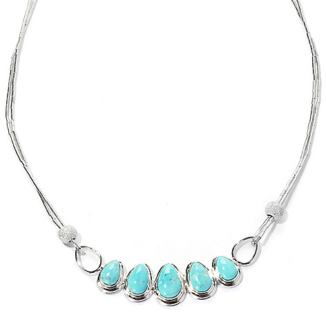 131-838 - Gem Insider™ Sterling Silver 18'' Blue Moon Turquoise & Star Dust Bead Necklace