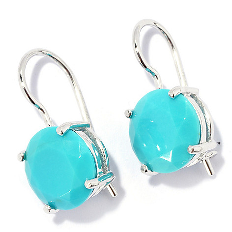131-842 - Gem Insider Sterling Silver 10mm Round Faceted Sleeping Beauty Turquoise Earrings