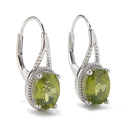 131-844 - Gem Insider™ Sterling Silver 2.40ctw Peridot Beaded Leverback Earrings