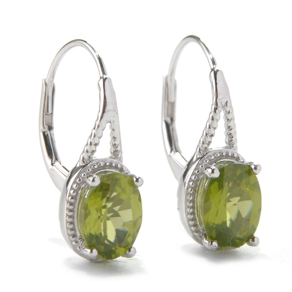131-844 - Gem Insider Sterling Silver 2.40ctw Peridot Beaded Leverback Earrings