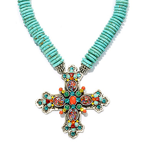 131-845 - FAITH 18'' Magnesite Gemstone & Crystal Cross Necklace w/ 3'' Extender