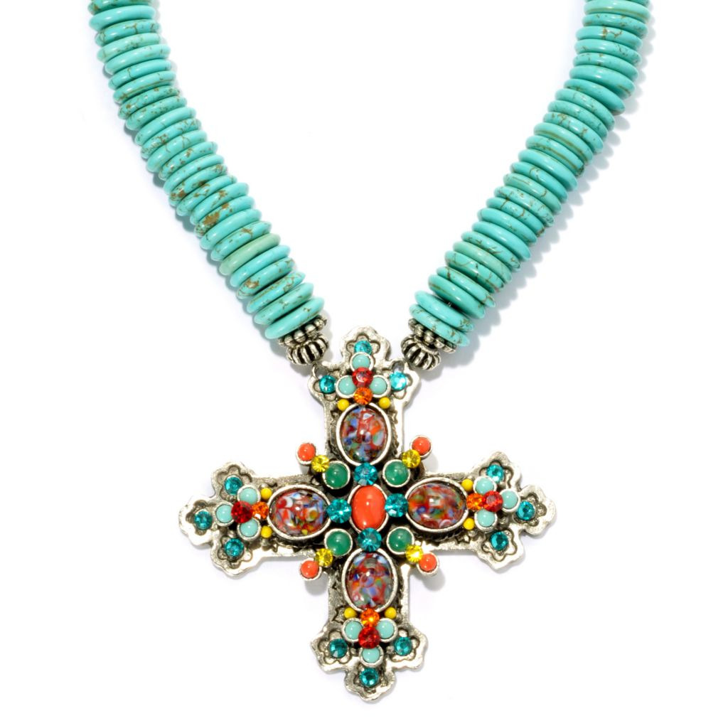 "131-845 - FAITH 18"" Magnesite Gemstone & Crystal Cross Necklace w/ 3"" Extender"