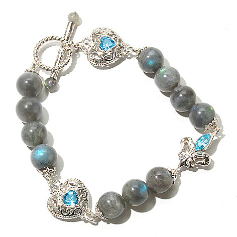 131-847 - Dallas Prince Designs 8.5'' Labradorite & Swiss Blue Topaz Beaded Station Toggle Bracelet