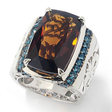131-852 - Dallas Prince Sterling Silver 14.80ctw Whiskey Quartz & London Blue Topaz Ring