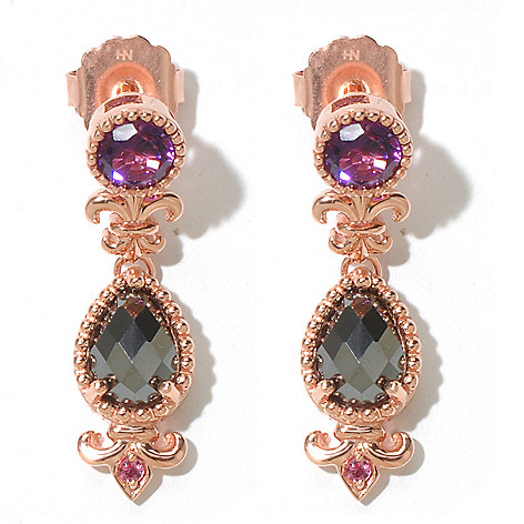 131-853 - Dallas Prince Designs 12.80ctw Amethyst, Hematite & Pink Tourmaline Drop Earrings