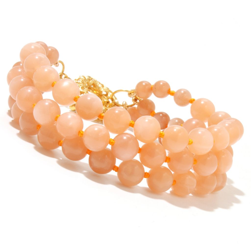 "131-854 - Dallas Prince Designs 8"" Beaded Peach Moonstone Three-Strand Toggle Bracelet"