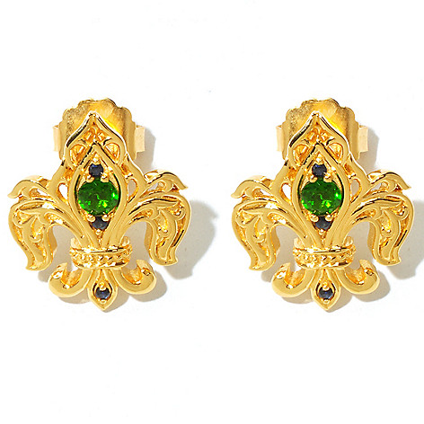 131-855 - Dallas Prince Designs Chrome Diopside & Sapphire Fleur-de-Lis Earrings