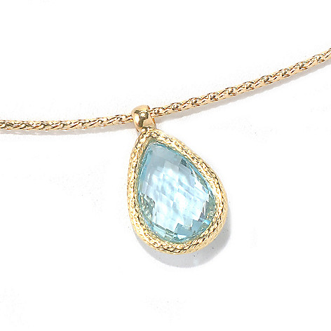 131-862 - Viale18K® Italian Gold 18'' Pear Shaped Gemstone Omega Necklace