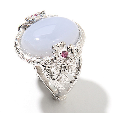 131-878 - Dallas Prince Designs Sterling Silver 18 x 13mm Blue Chalcedony & Grape Rhodolite Ring