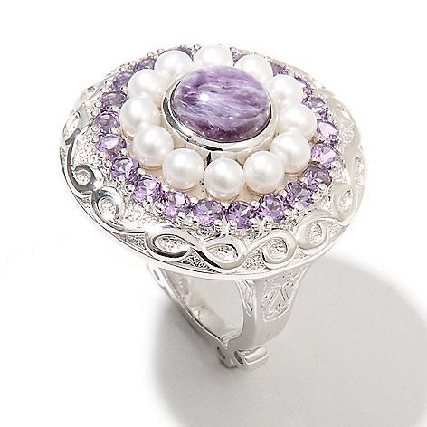 131-879 - Dallas Prince Designs Sterling Silver 8mm Charoite, Cultured Pearl & Amethyst Halo Ring