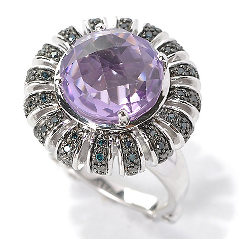 131-881 - Dallas Prince Sterling Silver 6.35ctw Round Amethyst & Blue Diamond Ring
