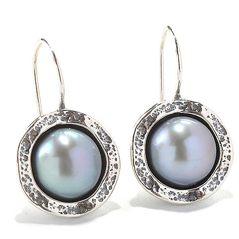 131-883 - Passage to Israel Sterling Silver 1'' 10mm Freshwater Cultured Pearl Drop Earrings