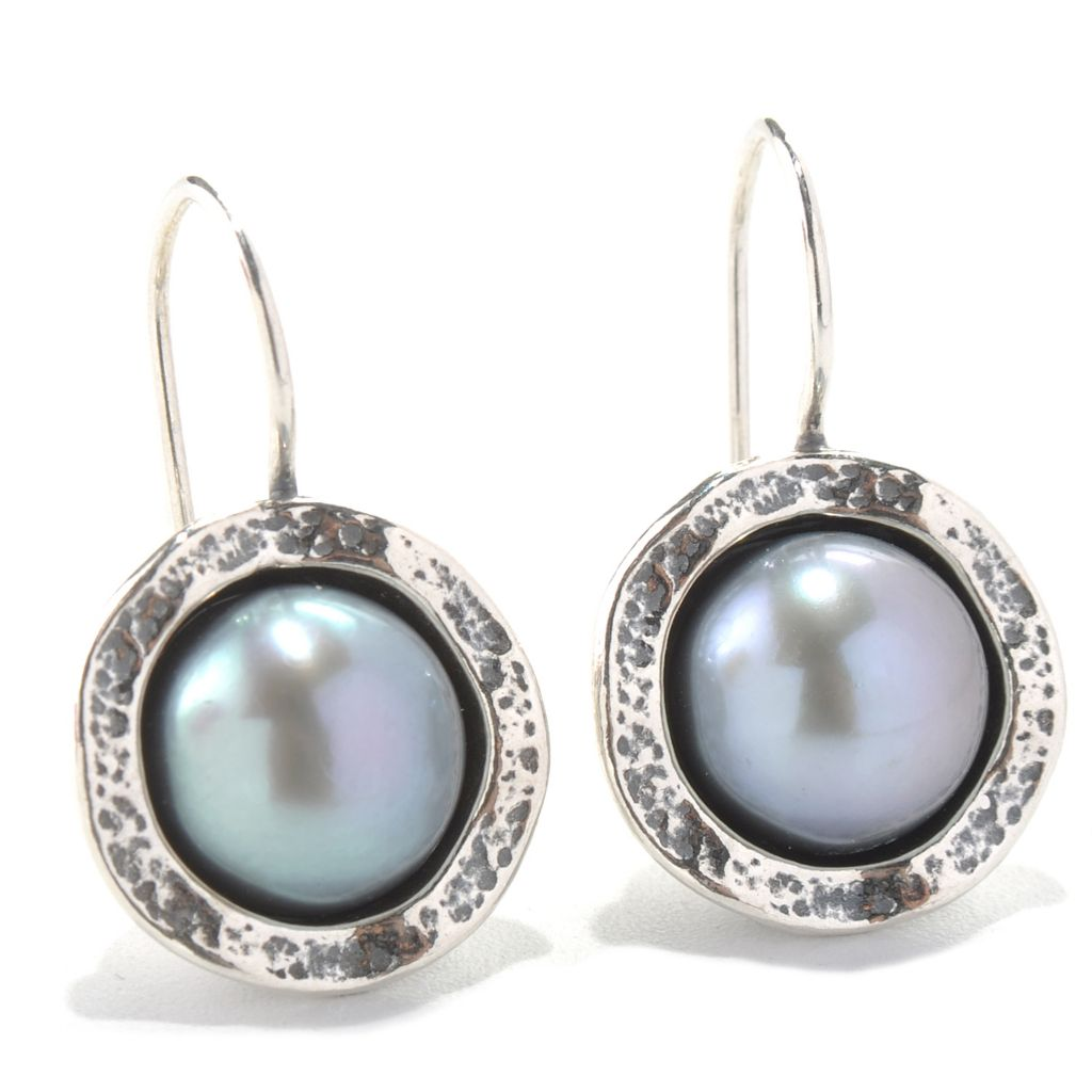"131-883 - Passage to Israel Sterling Silver 1"" 10mm Freshwater Cultured Pearl Drop Earrings"