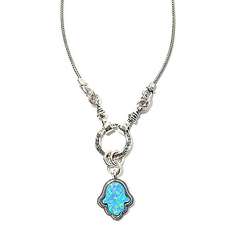 131-888 - Passage to Israel Sterling Silver 18'' Simulated Blue Opal Hamsa Drop Necklace