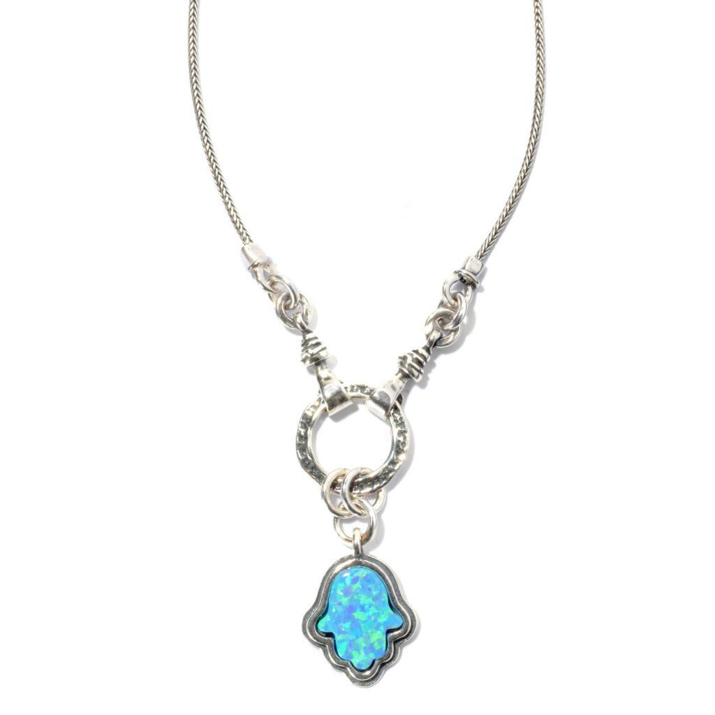 "131-888 - Passage to Israel Sterling Silver 18"" Simulated Blue Opal Hamsa Drop Necklace"